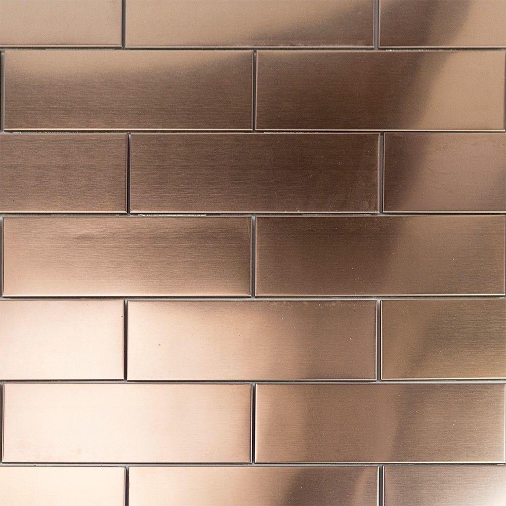 Copper Subway Tile 2x6 In Stainless Steel Copper Tile Backsplash Stainless Steel Tile Metal Floor