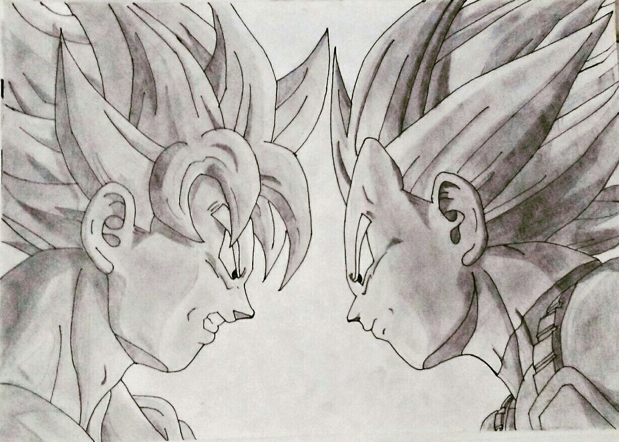 Coloriage Famille Vegeta.Goku Vs Vegeta Pencil Art L S Maan Dragon Ball Z Dragon Ball