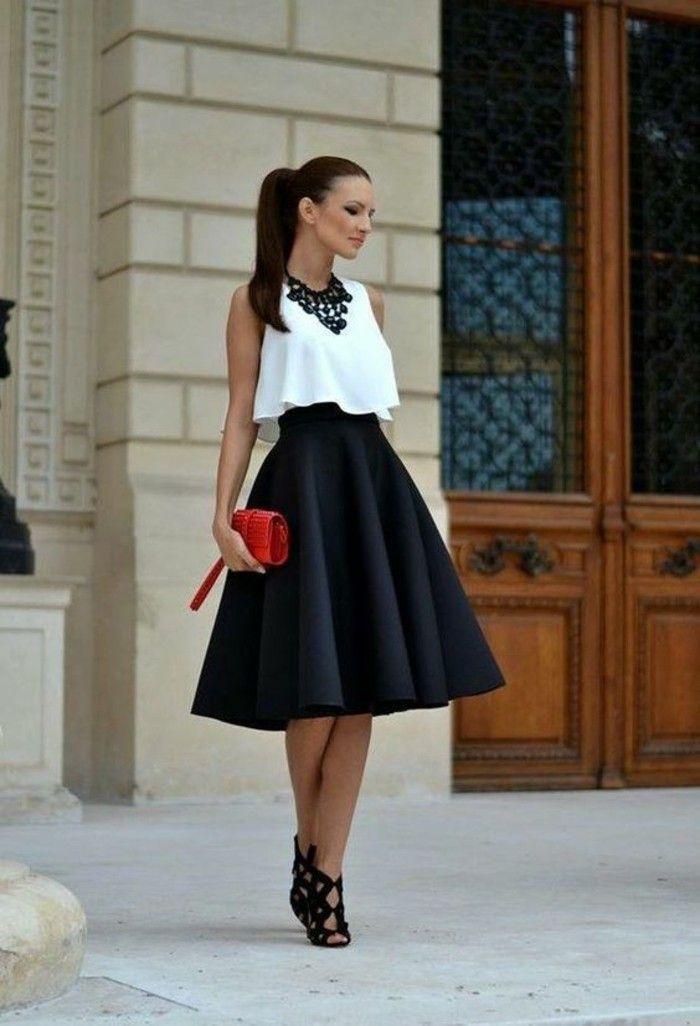 jupe,taille,haute,type,cloche,en,noir,formel