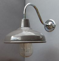 Factory Style Wall Lights - Enamel Shade with  Chrome Goose Neck - 30S-GNWLL - Grey Enamel Shade main image
