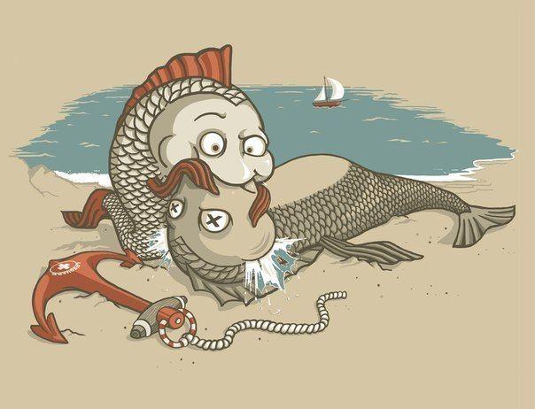 Рисунки смешные рыб, сделать