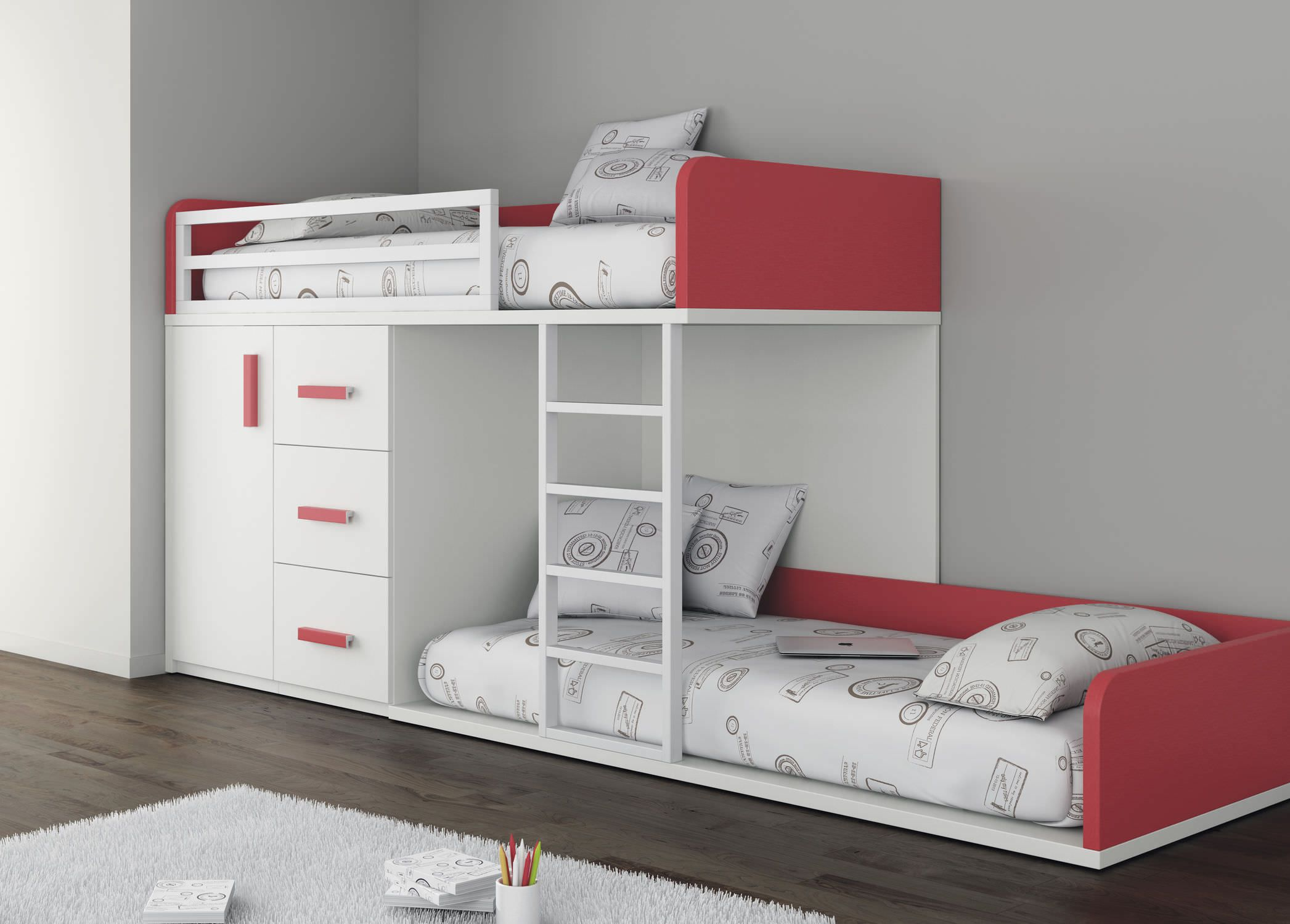 lit superpos avec rangements pour enfant fille touch 51 ros 1 sa pour la maison. Black Bedroom Furniture Sets. Home Design Ideas