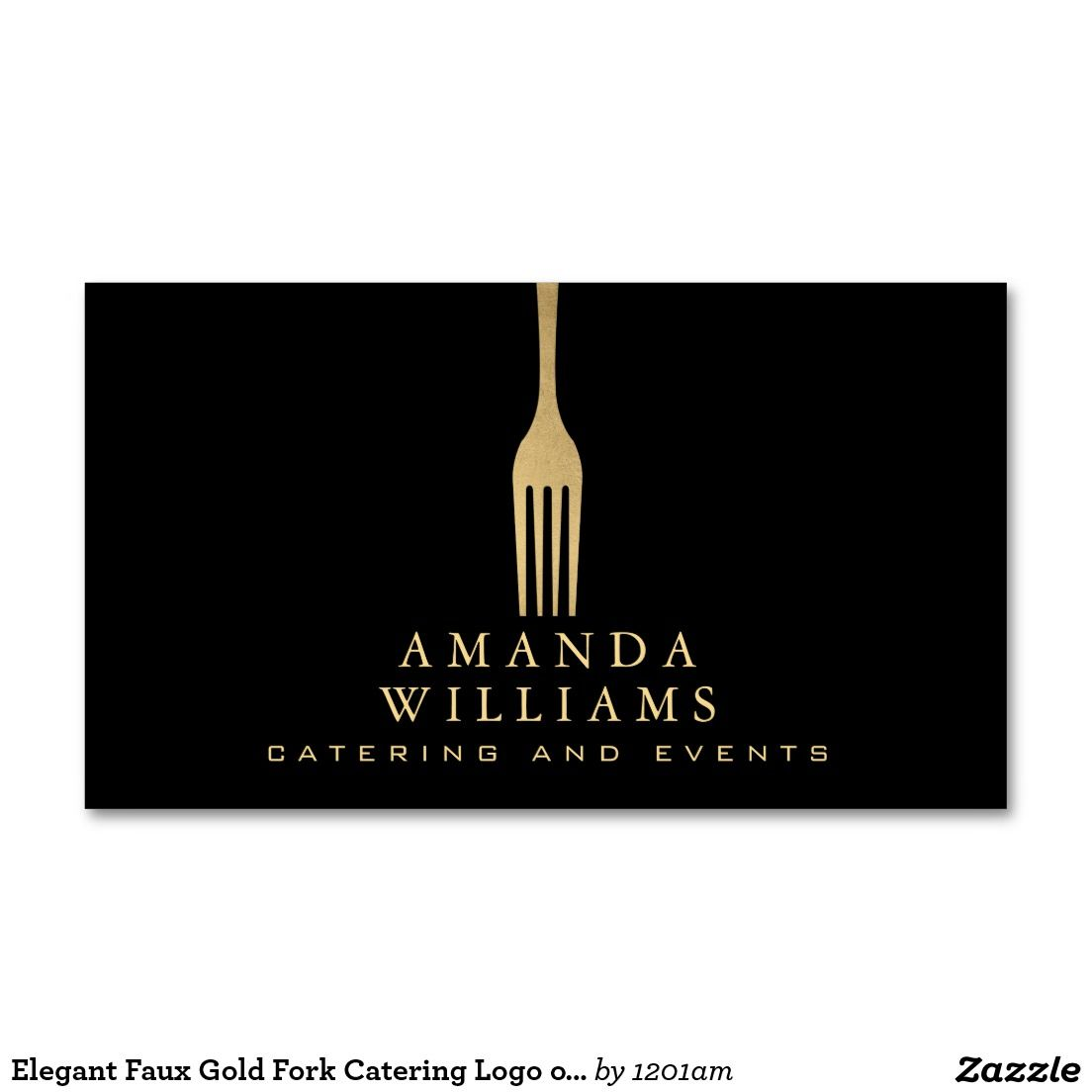 Elegant Faux Gold Fork Catering Logo on Black Double-Sided ...