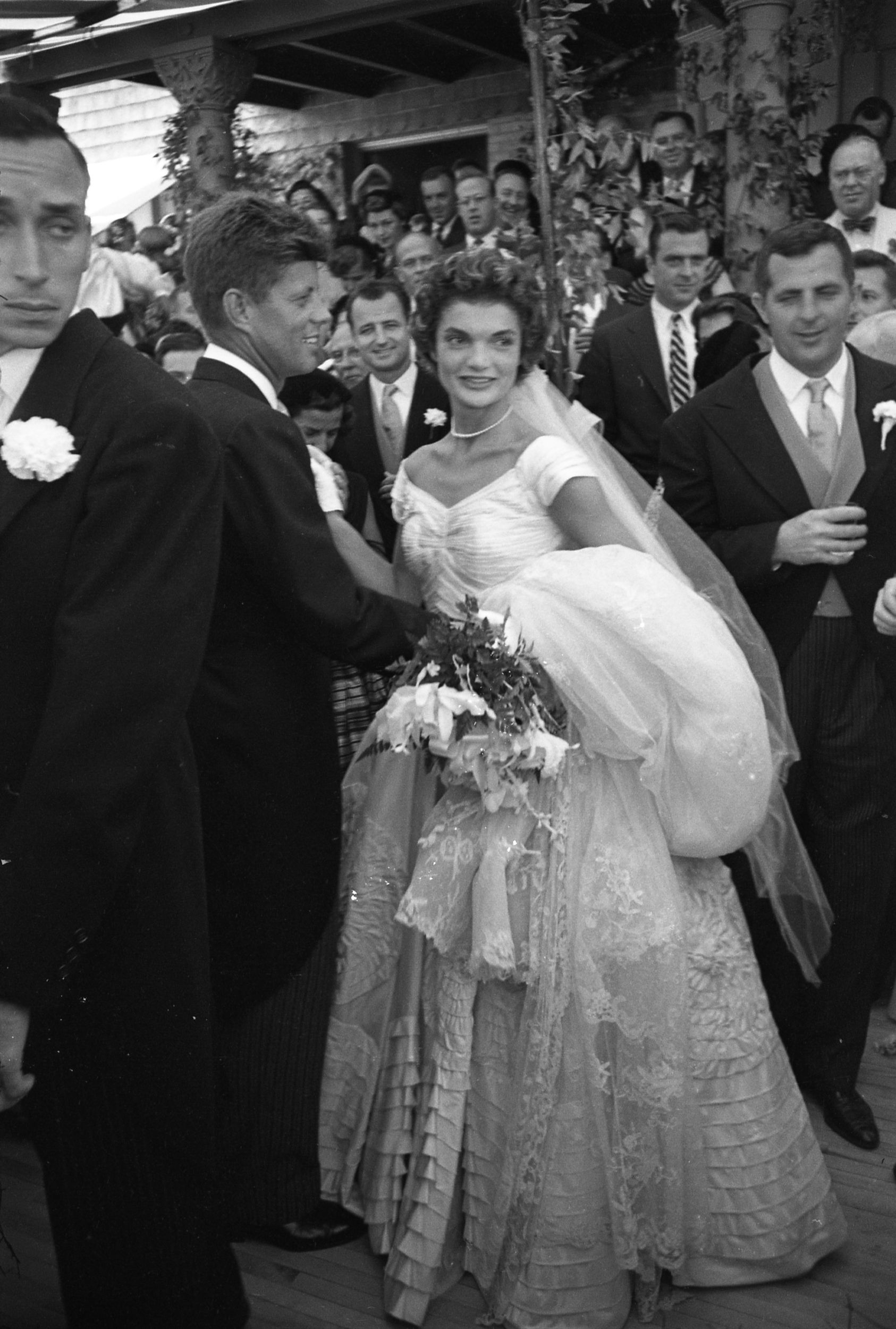 Jackie kennedy wedding dress on display  JFK and Jackie had more than  guests at their wedding but even