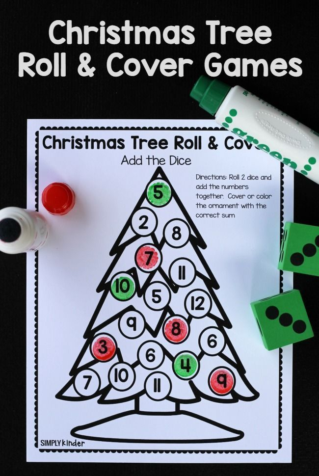 Christmas Tree Roll & Cover Christmas Math Games | Christmas in the ...