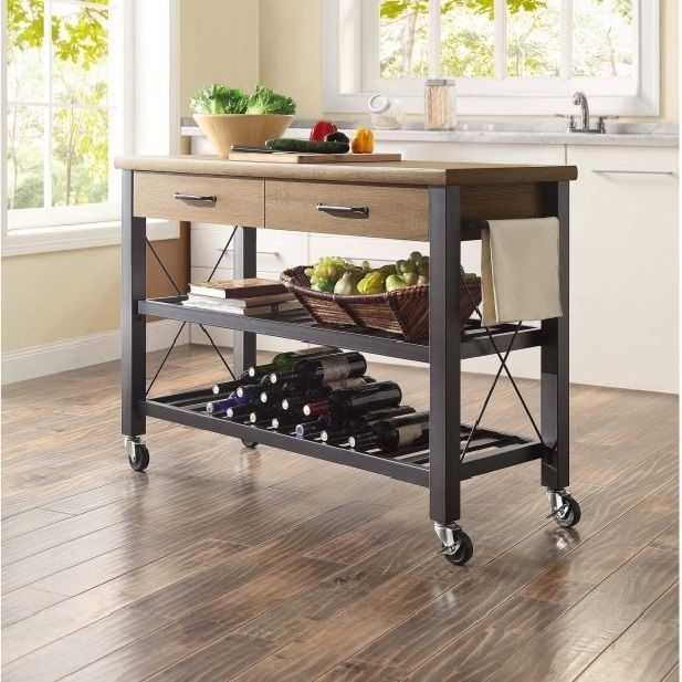 Industrial Kitchen Cart Island Rolling 2 Drawer Shelf Wood