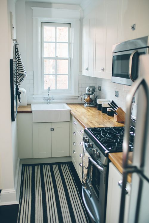Small Kitchen White Cabinets Butcher Block Counters White Subway Tile Farmhouse Sink It Works