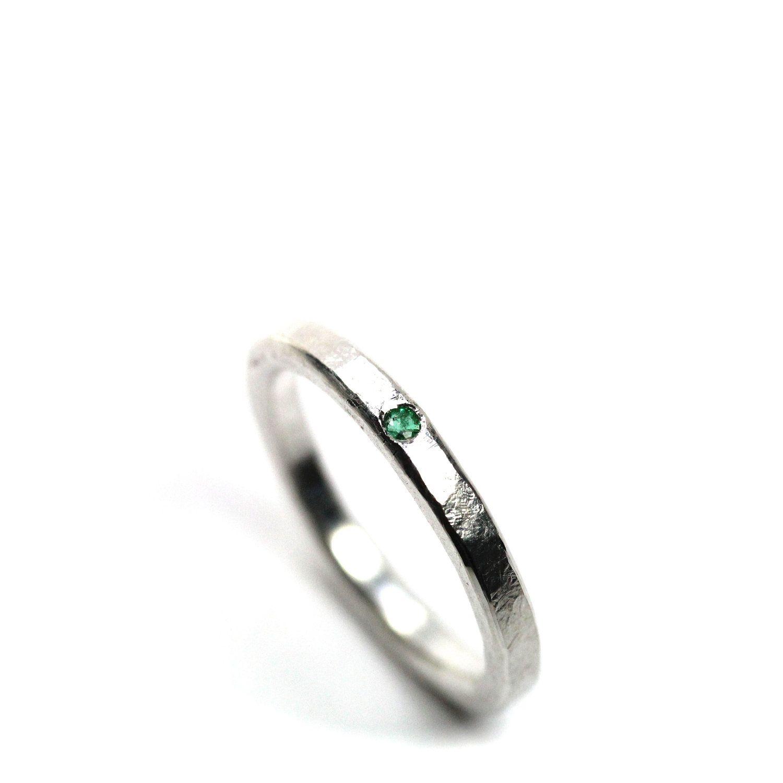 delicate silver emerald wedding ring beryl dab 75 00 via etsy