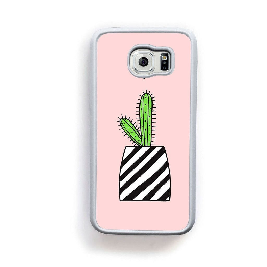 Green Cactus in stripe pot on pink with heart for Galaxy S6