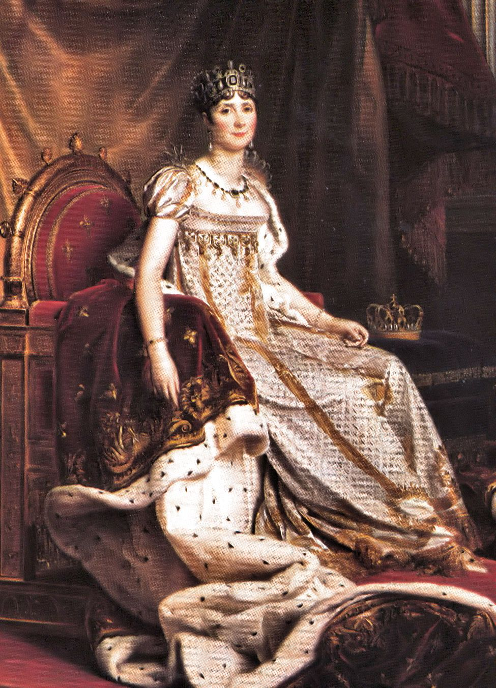 Josephine Bonaparte is painted wearing an elaborate, empire style dress that is fitted at the waist with puffed, cap sleeves. The Industrial Revolution made textiles readily available and many materials were printed. It is said that her extensive wardrobe alone stimulated French industry.