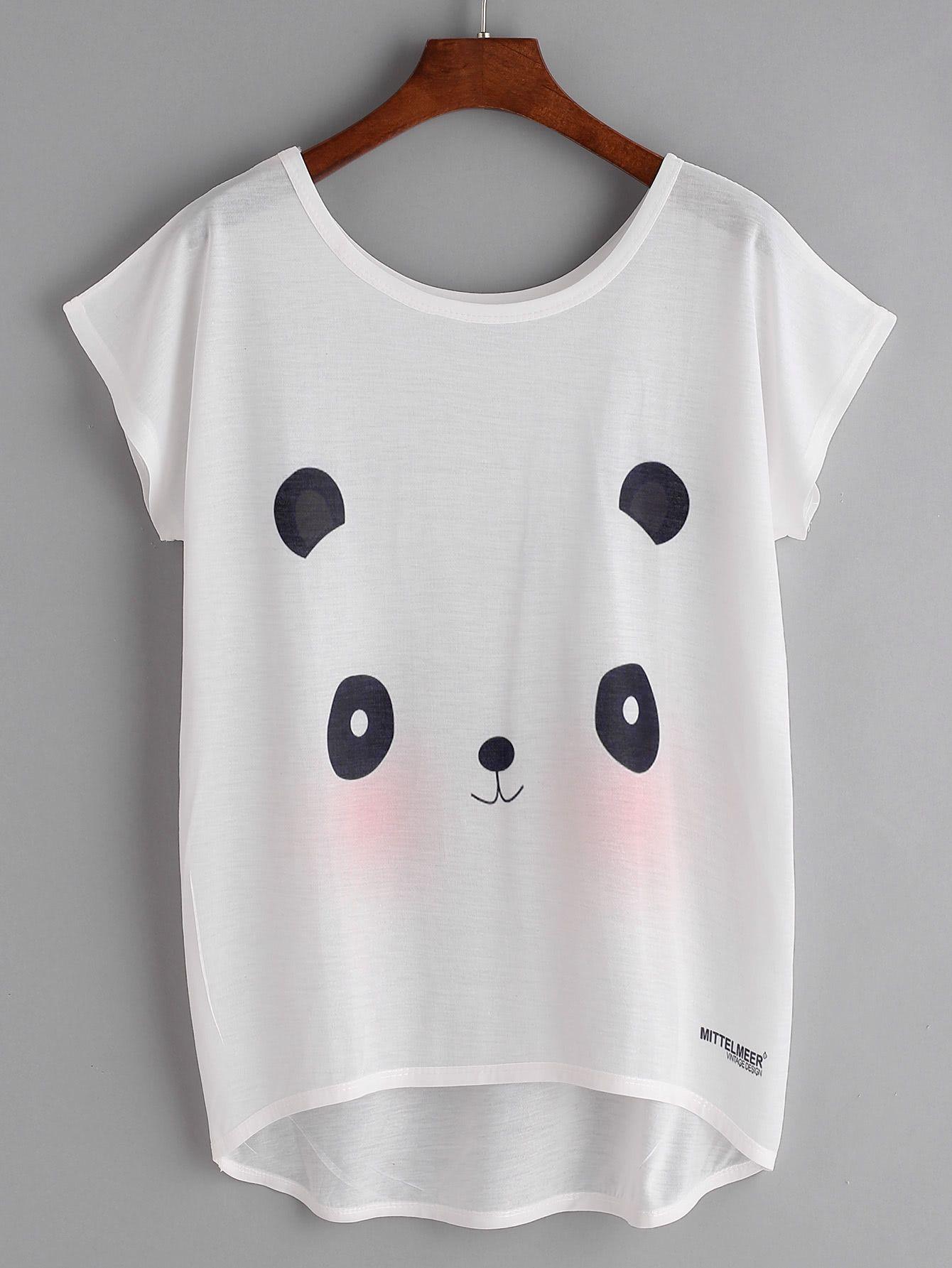 57c2ef900 Shop Panda Print Batwing Sleeve Dip Hem Tee online. SheIn offers Panda Print  Batwing Sleeve Dip Hem Tee & more to fit your fashionable needs.