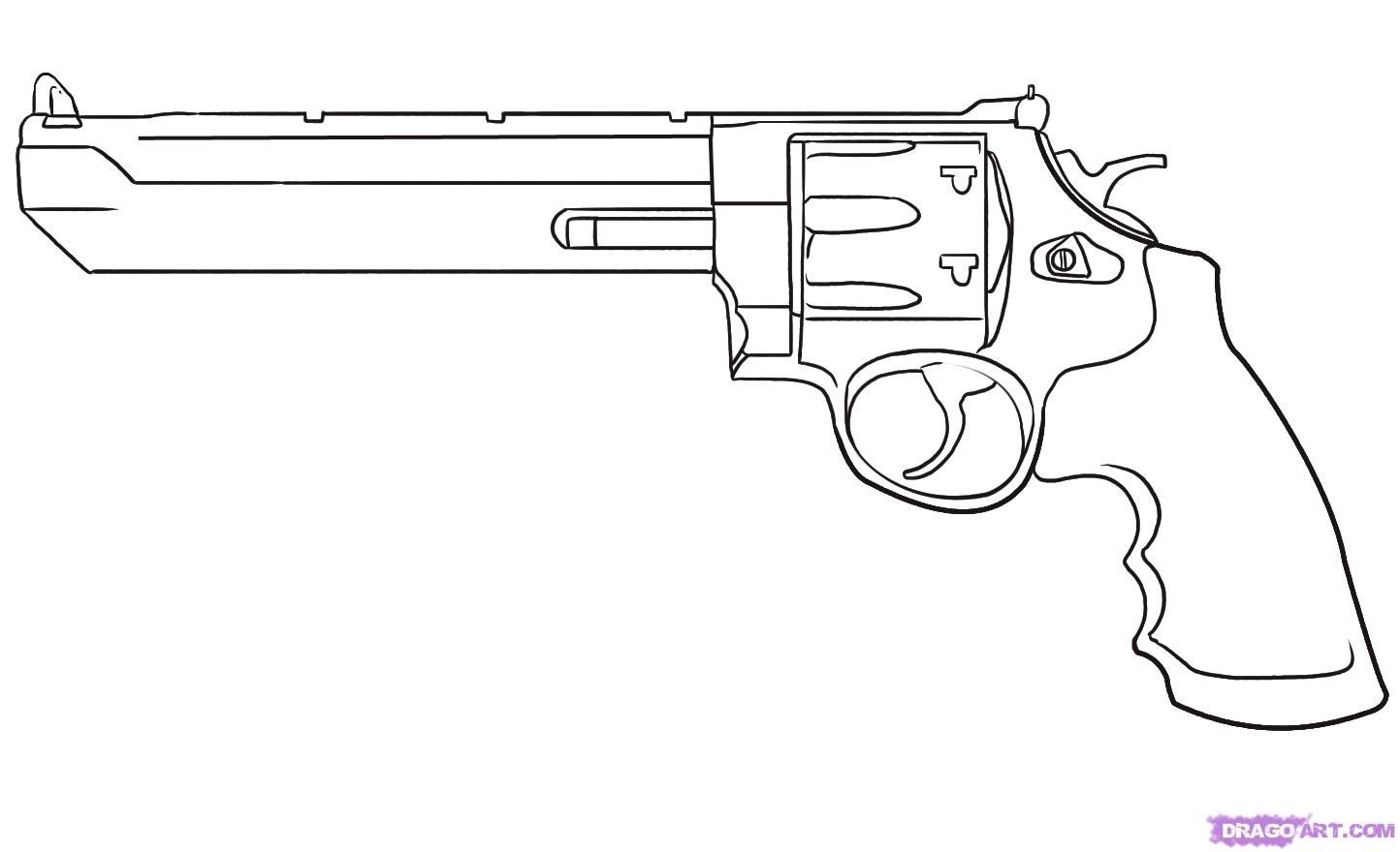 how to draw a pistol step by step
