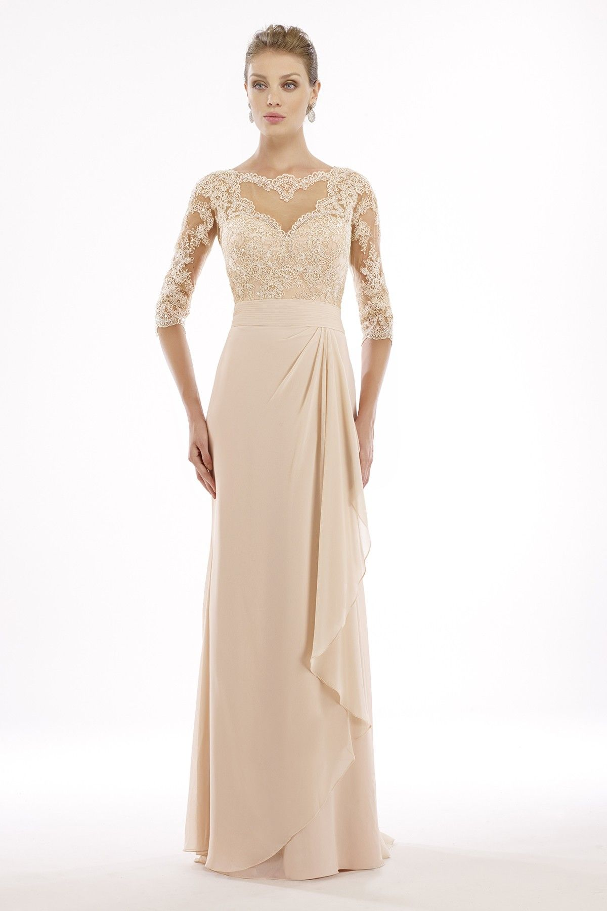 Platinum edition wedding dresses  SheathColumn Illusion Floor Length Chiffon Silver Cloud Half Sleeve