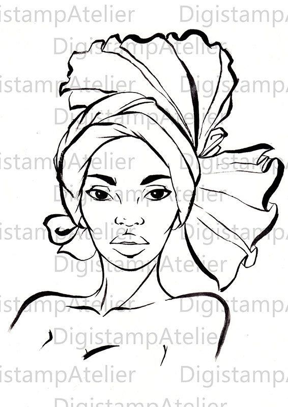 african woman ii  instant download digital digi stamps