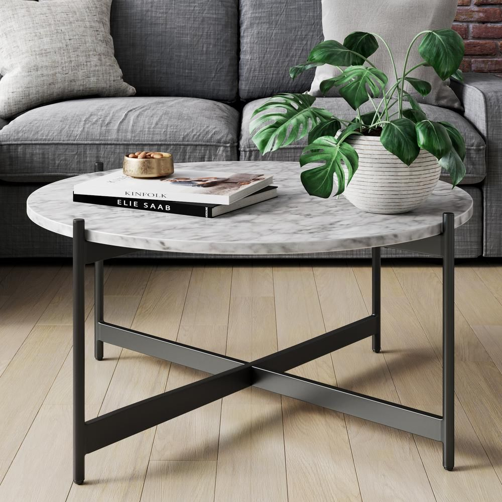 Nathan James Piper 36 In White Black Medium Round Faux Marble Coffee Table 31501 The Home Depot Coffee Table Living Room Modern Living Room Coffee Table Decorating Coffee Tables [ jpg ]