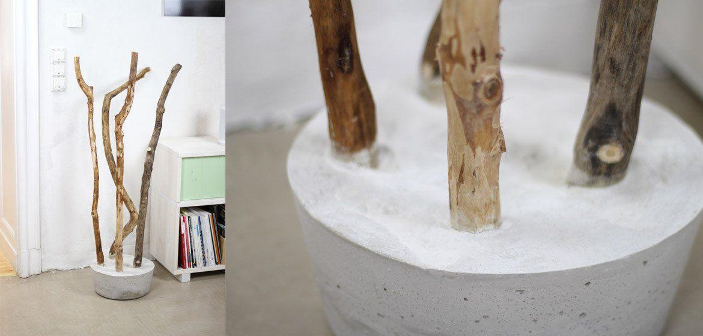 DIY Garderobe zum selber machen aus einem Ast und Betonfuß DIY - diy garderobe