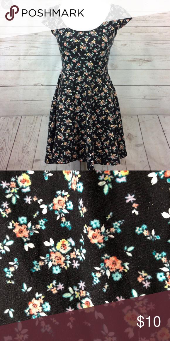 Lc Lauren Conrad Black Floral Dress Xs Super Cute Wide Neck Black