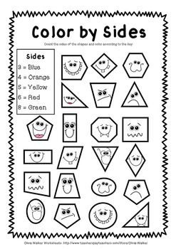 Color by Shape Worksheets ~ I love this! Great way to