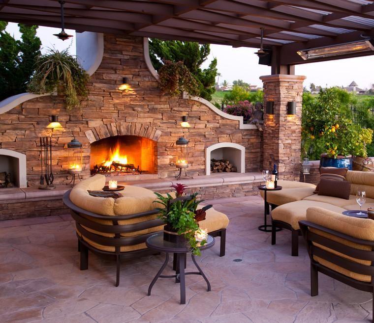 salón terraza con chimenea de piedra casa chametla Pinterest