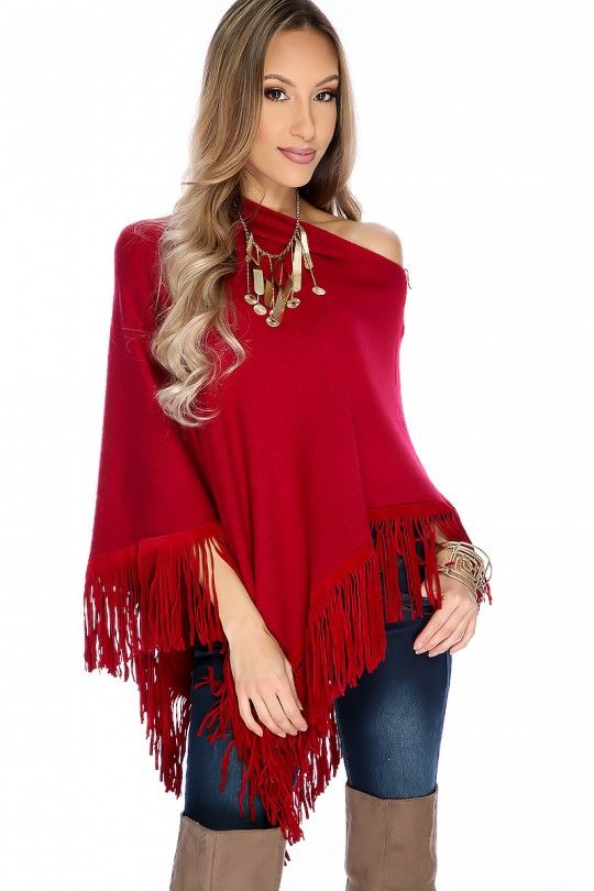 070325bf7 Sexy Wine Faux Suede Fringe Casual Poncho in 2019 | Cozy in Coats ...