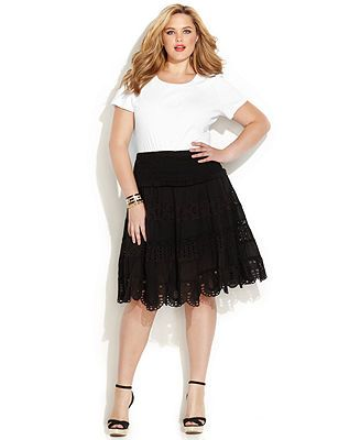 MICHAEL Michael Kors Plus Size Tiered Eyelet Skater Skirt - MICHAEL Michael Kors - Plus Sizes - Macy's