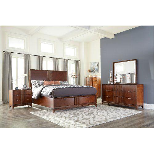 Best Brown Cherry Mid Century Modern 4 Piece Queen Bedroom Set 640 x 480
