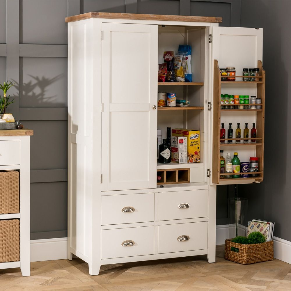 Cheshire Cream Painted Kitchen Larder Pantry Cupboard The Furniture Market Pantry Cupboard Larder Cupboard Freestanding Kitchen Pantry Cupboard