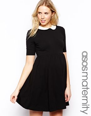 7a3efe223 ASOS Maternity Exclusive Skater Dress With Contrast Collar And 1 2 Sleeve