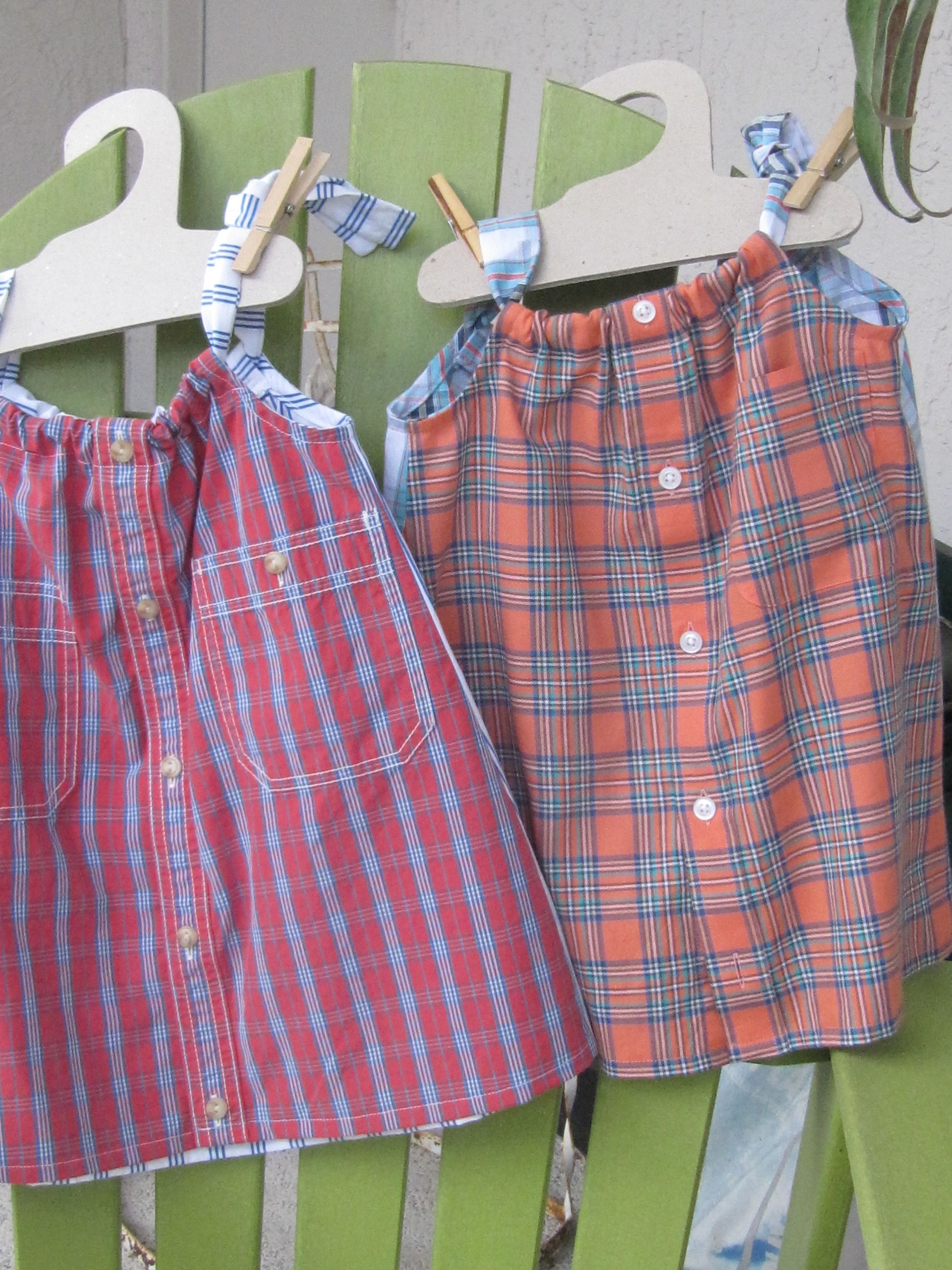Two dresses size 1-2 toddler made from two shirts. $22 Daddy's Button Shirt. Repurposed men's shirts, recycled children's clothing