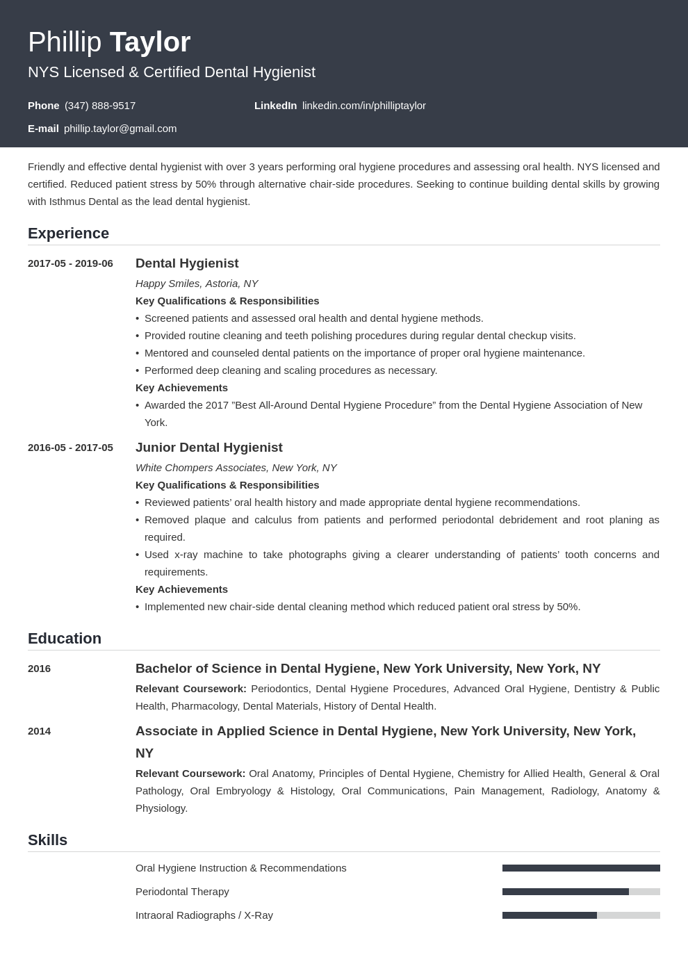 dental hygiene resume example template influx in 2020