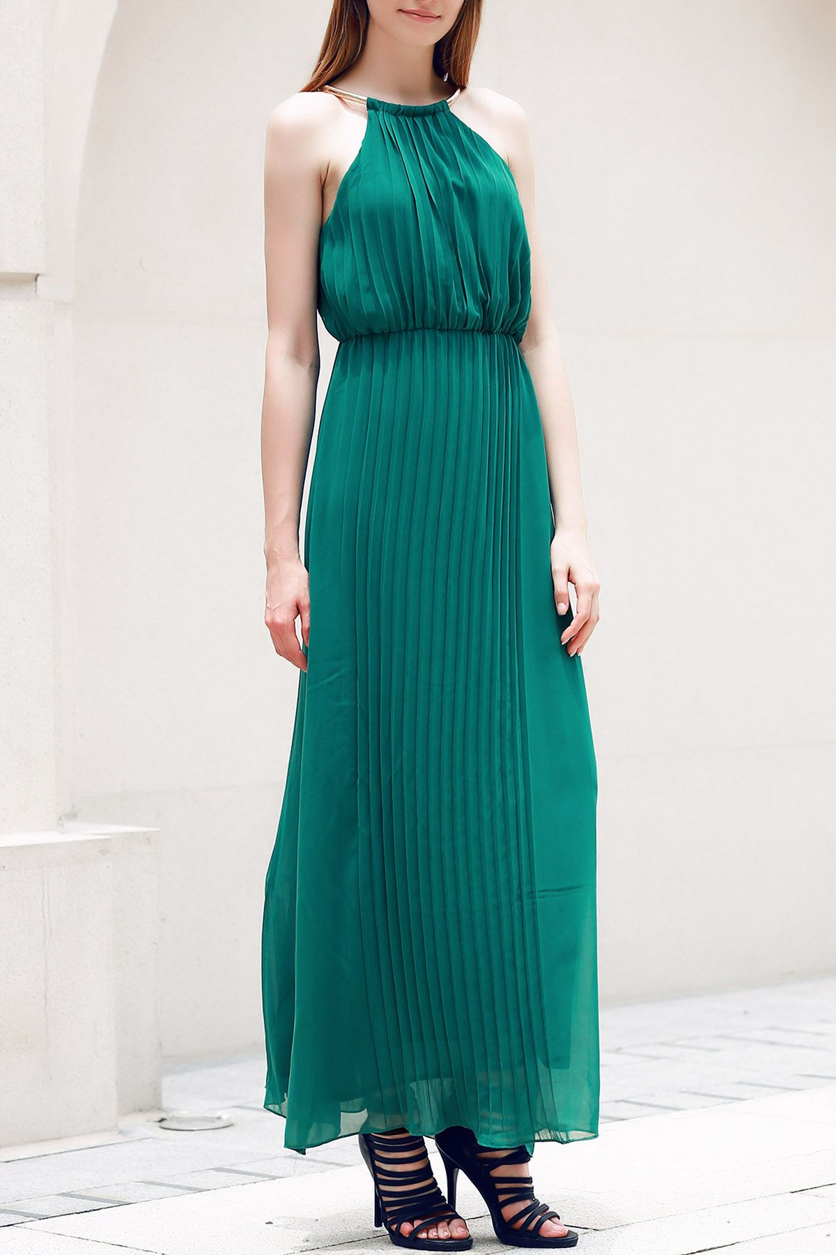 Fashionable sleeveless pleated solid color womenus dress green