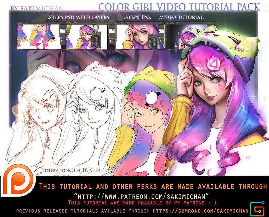Color Girl Tutorial Pack Promo By Sakimichan Deviantart Com On