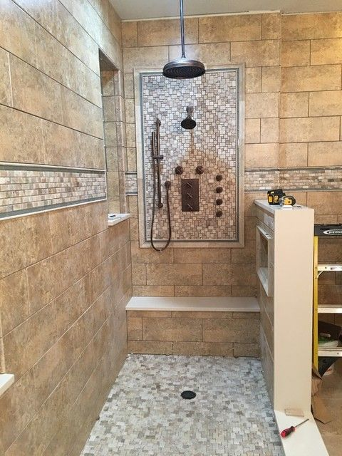 Loving This Focal Point Design With The Warm Brown Tone In This Bathroom Shower Tile Imperial Beige Ce Brown Tile Shower Tile Bathroom Ceramic Tile Bathrooms