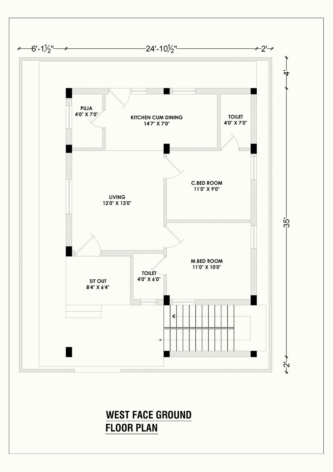 West Face House Plan 2bhk House Plan Living Room Floor Plans 30x40 House Plans