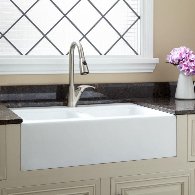 33 Angove Double Bowl Cast Iron Farmhouse Sink Single Faucet