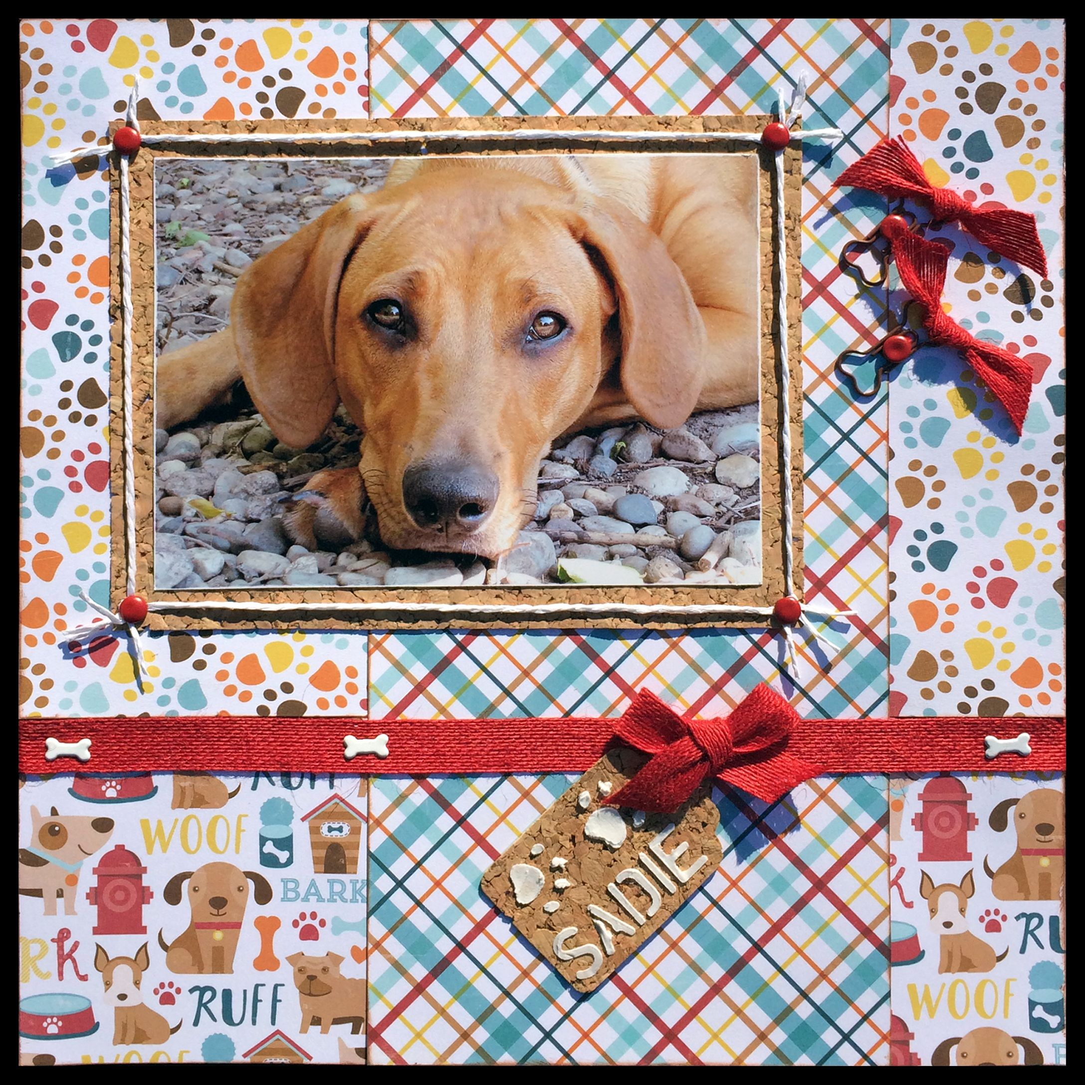 Scrapbook ideas for dogs -  Sadie 12x12 One Page Layout Using Echo Park Bark Papers And Ranger