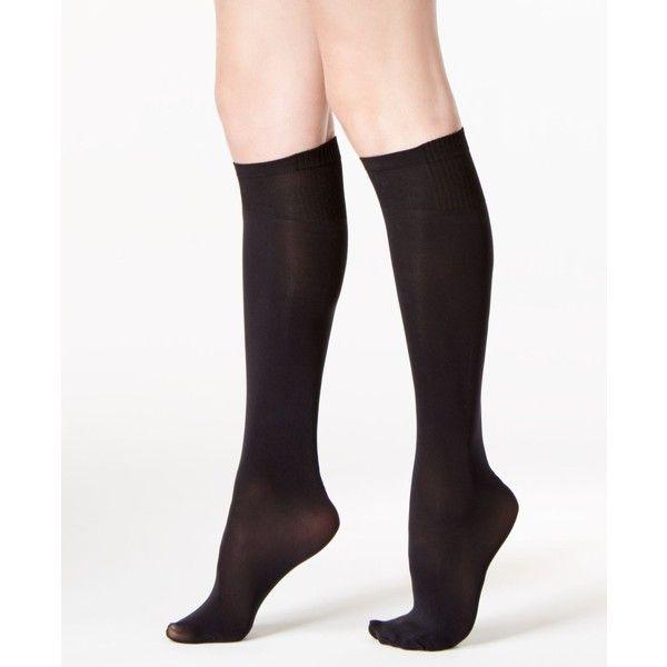 06527e4e8f691 Dkny Women's Knee High Socks ($16) ❤ liked on Polyvore featuring intimates,  hosiery, socks, black, knee socks, knee high socks, ribbed knee high socks,  ...