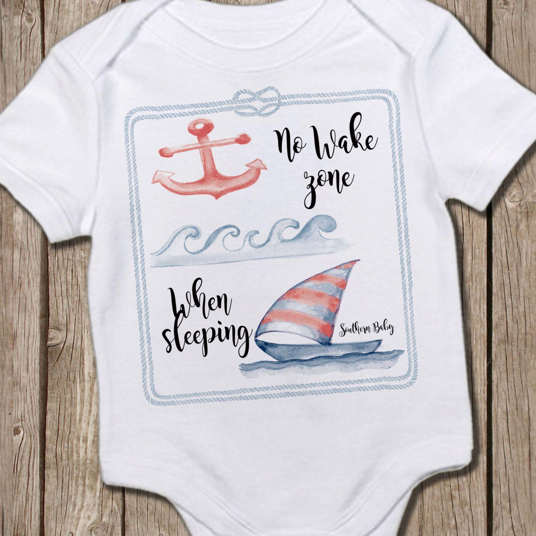 b574beb62 Custom Baby Onesie® No Wake Zone When Sleeping Anchor Sail boat ...