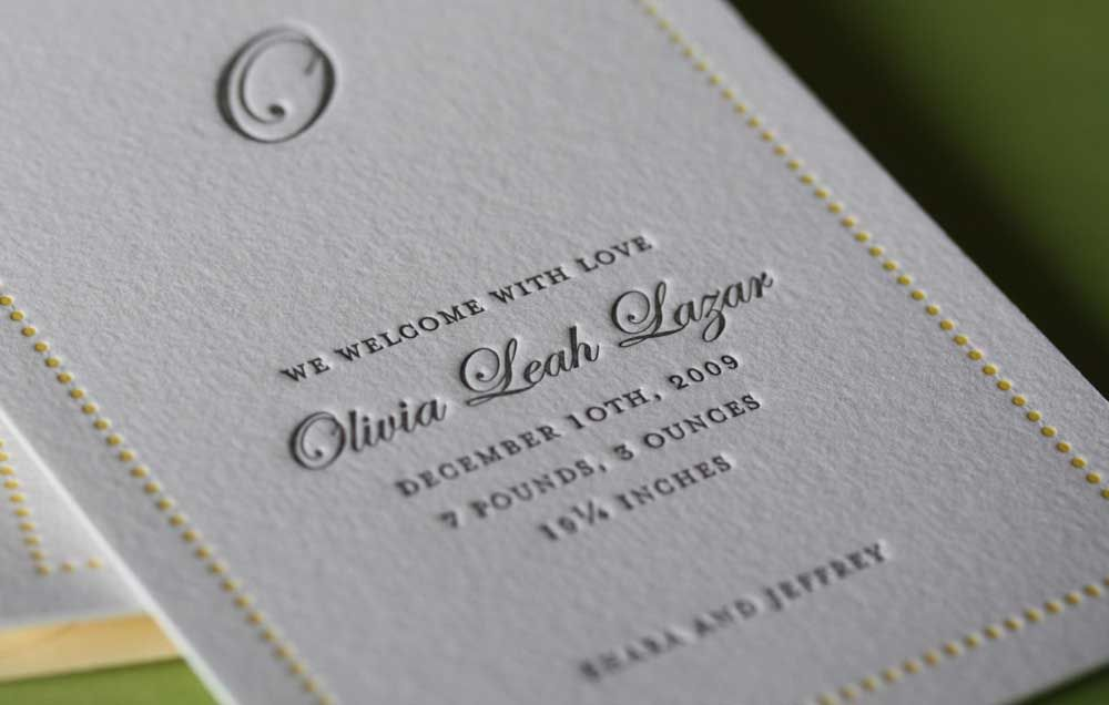 Printed Invitation With Embossing Fancy Printing As You See It On Wedding Invitations And The Likes Only A Letterpress Can Do