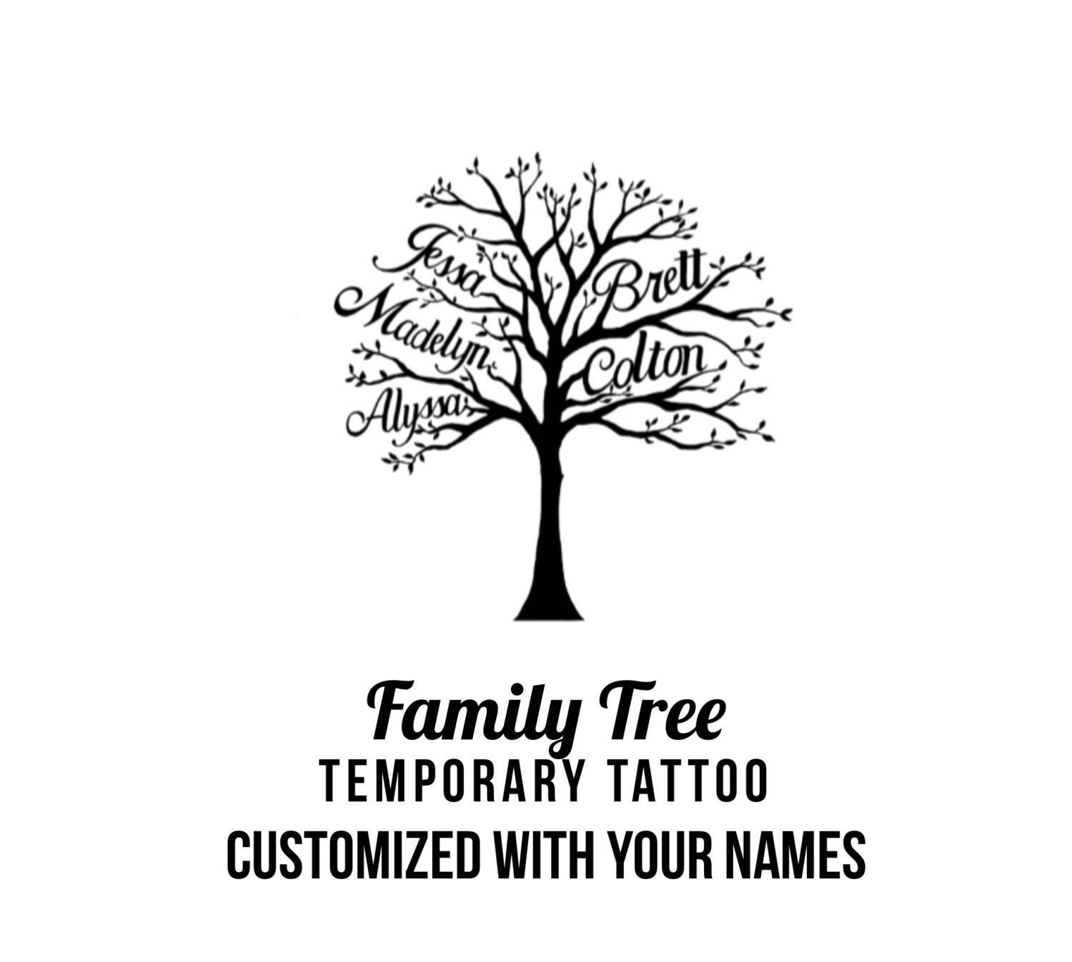 Custom Family Tree With Names Temporary Tattoo By Pepperink Bad