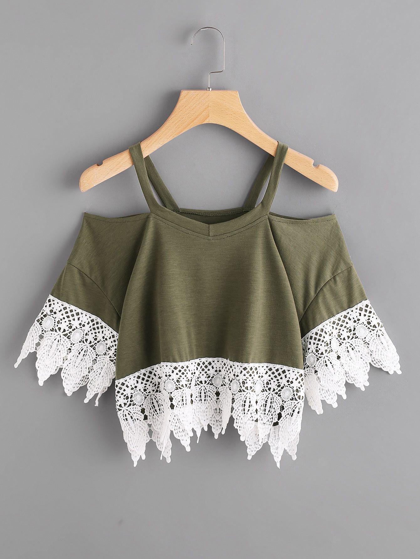 Contrast Crochet Lace Trim Tee – clothes