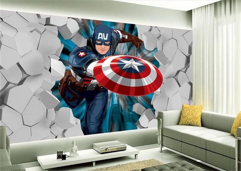 Papel De Parede Do Capitao America: 3d-adesivo-de-parede-não-tecido-quarto-papel-de-parede
