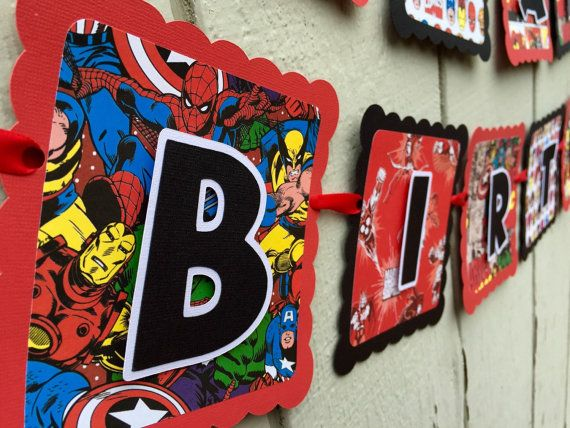 Marvel avenger birthday banner by CelebrationBanner on Etsy