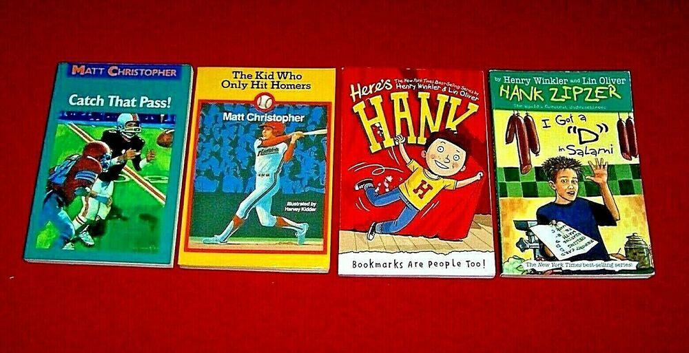 4 chapter books hank zipzer matt christopher 3rd 4th grade