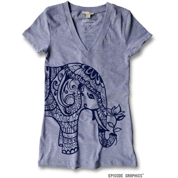 Ethnic Elephant Print Women's Fitted v Neck T Shirt ($18) ❤ liked on Polyvore featuring tops, t-shirts, navy, women's clothing, graphic t shirts, fitted v neck t shirts, cotton tee, v neck t shirts and graphic v neck t shirts