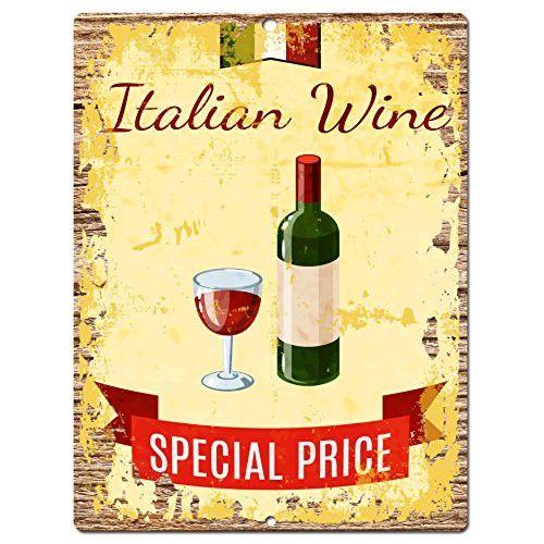 Italian Wine Chic Sign Rustic Shabby Vintage style Retro Kitchen Bar ...