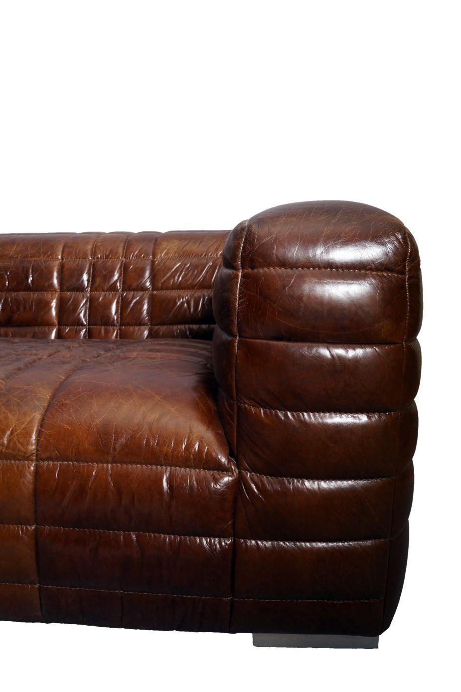Ledersofa Rocket 3 Sitzer Vintage Cigar Leder Sofa
