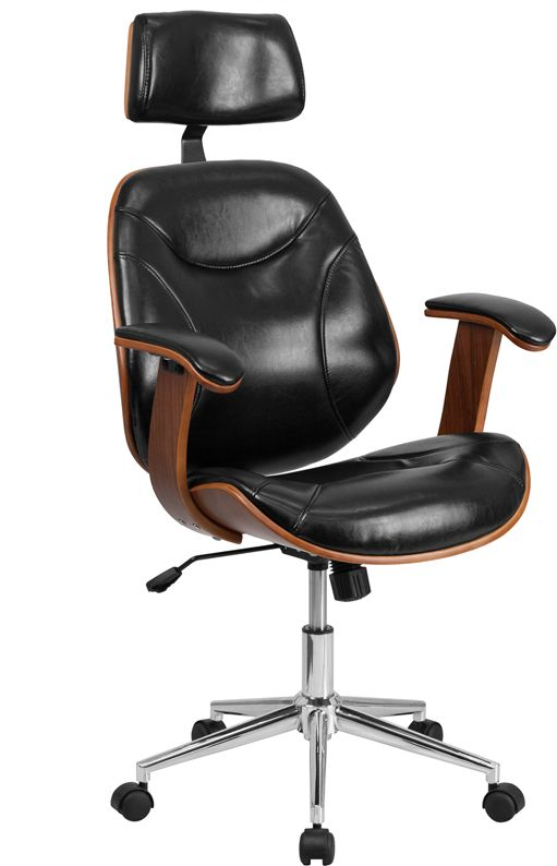 High Back Black Leather Executive Wood Swivel Office Chair - Flash Furniture SD-SDM-2235-5-BK-HR-GG