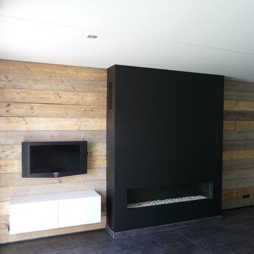 Muur in gebruikt steigerhout idee n voor het huis pinterest fire drift wood and wood - Muur plank onder tv ...
