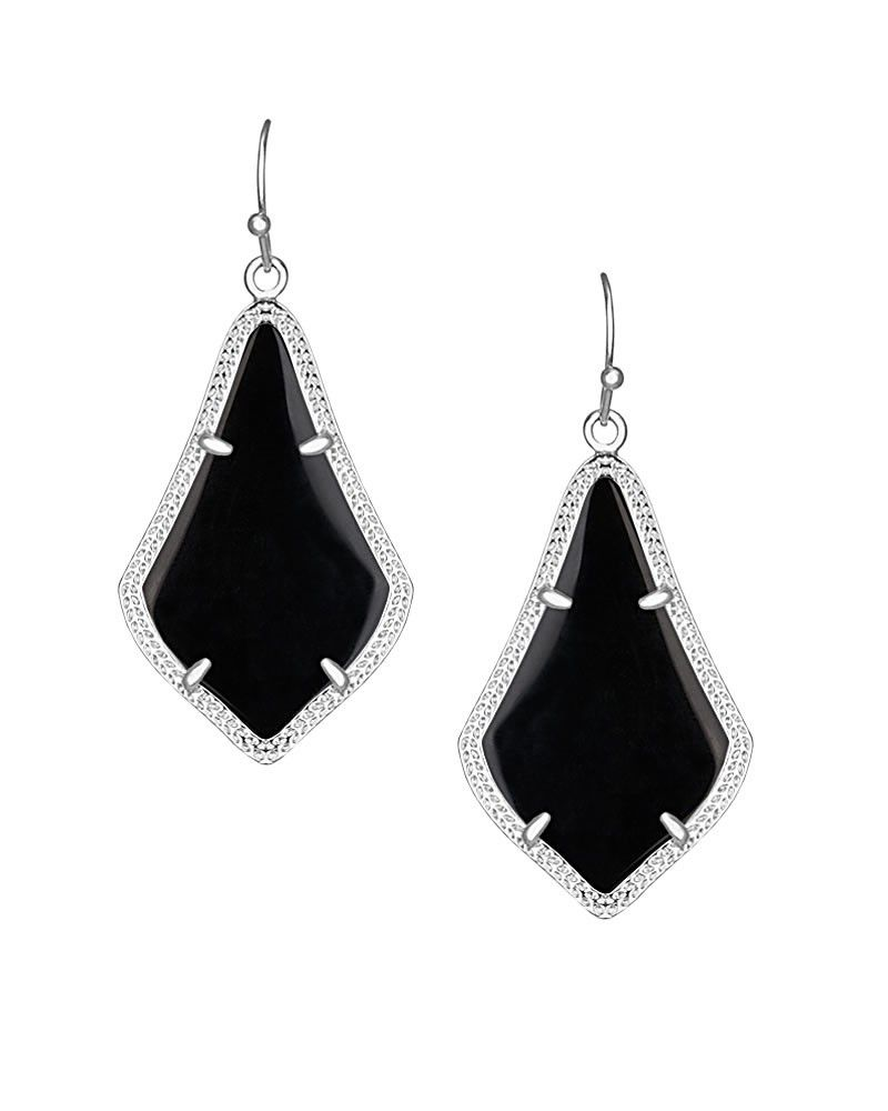 Alex Silver Earrings In Black  Kendra Scott's Classic Alex Earrings Are  Now Available In Silver